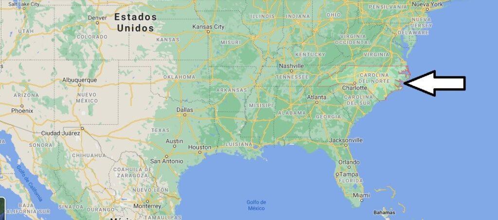 ¿Dónde está Carolina del Norte