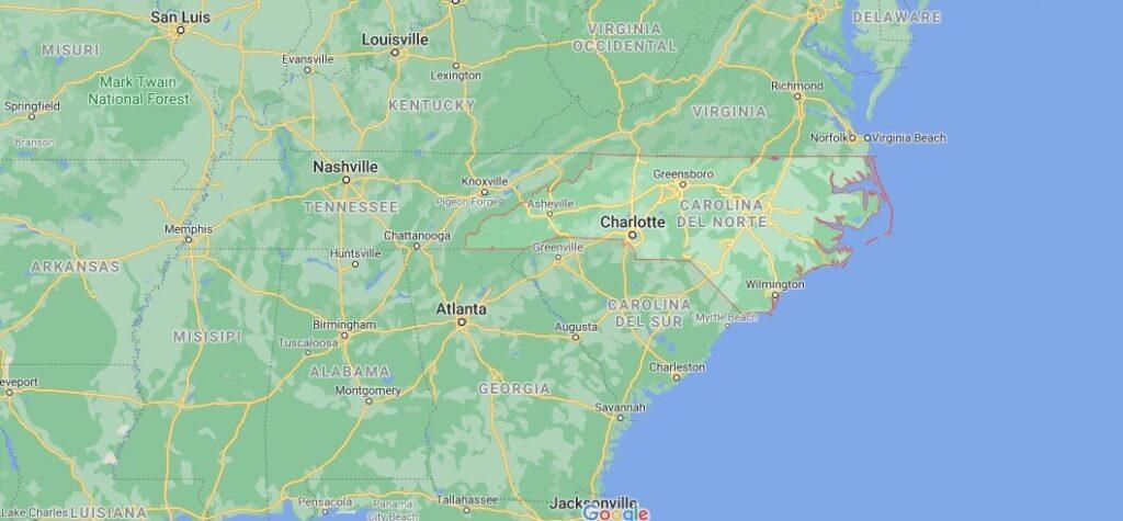 ¿Dónde está ubicada Carolina del Norte