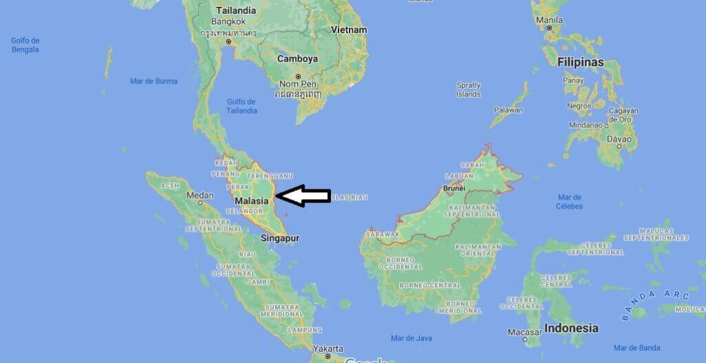 ¿Dónde se ubica Malasia en el planisferio