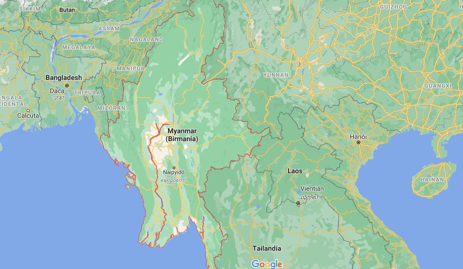 ¿Dónde está Birmania (Myanmar)