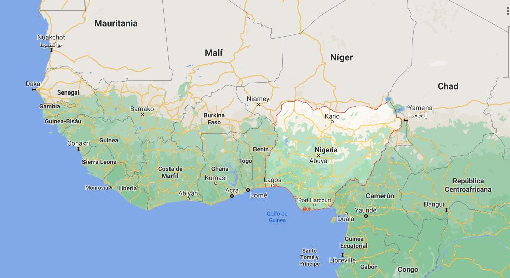 ¿Dónde está ubicado Nigeria en el mapamundi