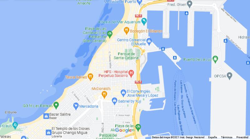 ¿Dónde queda Playa de Las Canteras