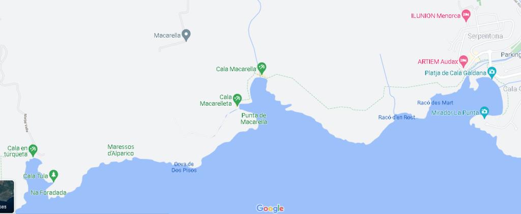 Mapa Cala Macarella
