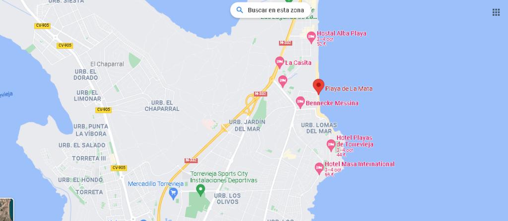 Mapa Playa de La Mata