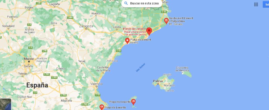 Mapa Playa de Llevant