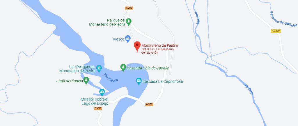 Mapa el Monasterio de Piedra
